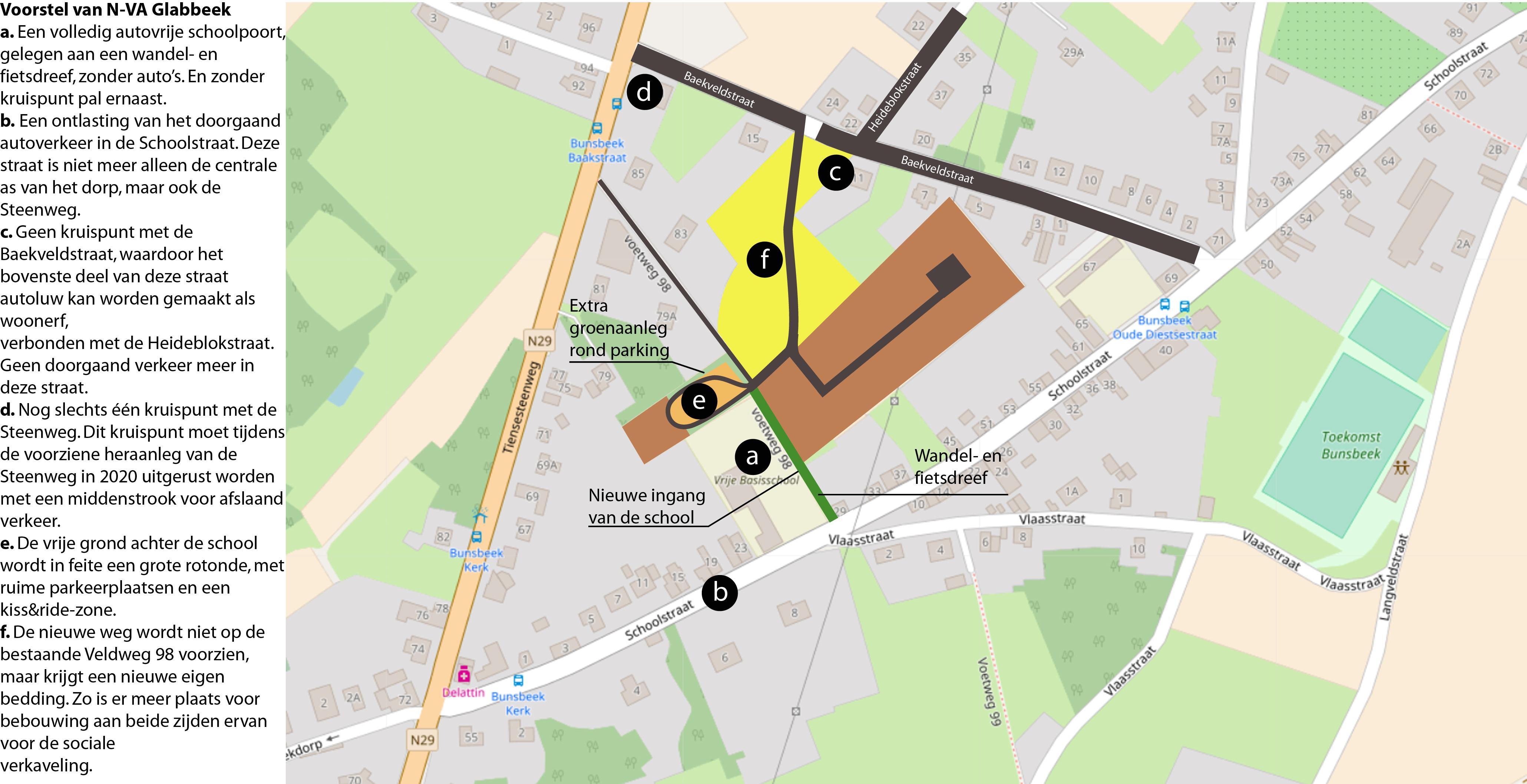 Schoolstraat Bunsbeek - schetsvoorstel N-VA Glabbeek